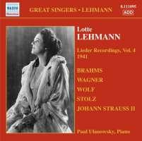 LEHMANN Lotte - Lieder Recordings Vol. 4
