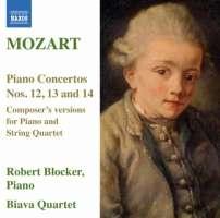 MOZART:Piano Concertos Nos. 12, 13 & 14 - Composer's versions for Piano and String Quartet