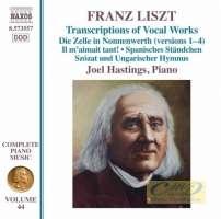 Liszt: Complete Piano Music Vol. 44- Transcriptions of Vocal Works (Hastings) (Liszt Complete Piano Music, Vol. 44)