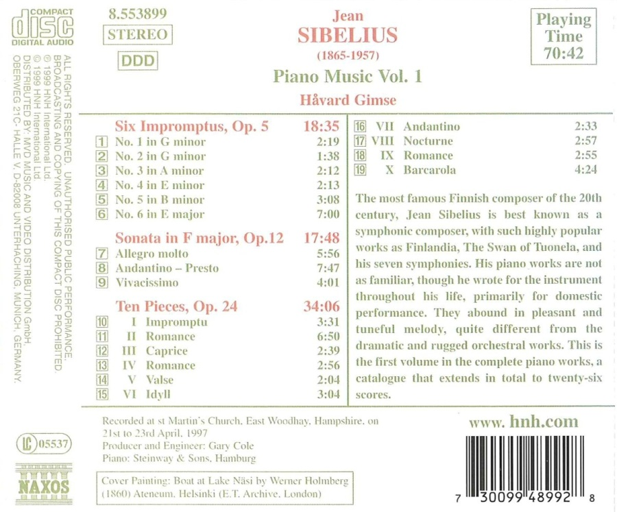 SIBELIUS: Piano Music Vol. 1 - slide-1