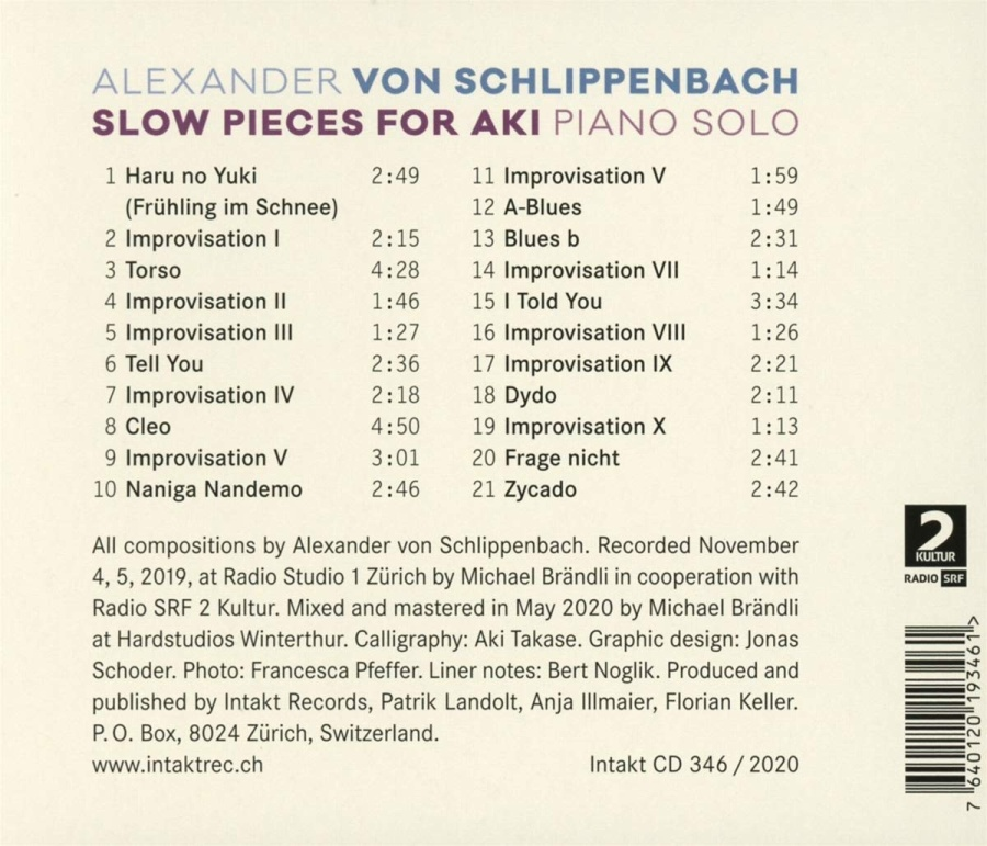 Alexander von Schlippenbach: Slow Pieces For Aki - slide-1